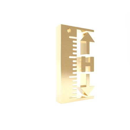 Gold The measuring height and length icon isolated on white background. Ruler, straightedge, scale symbol. 3d illustration 3D render