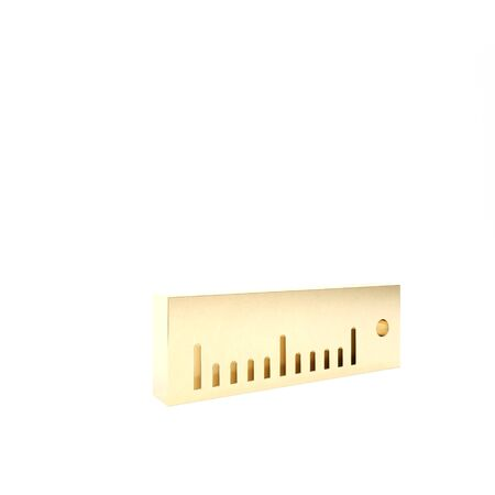 Gold Ruler icon isolated on white background. Straightedge symbol. 3d illustration 3D render