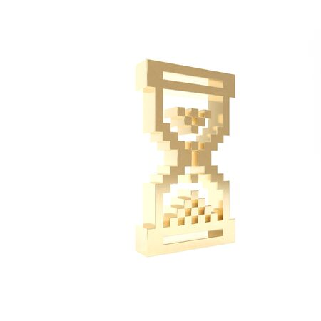 Gold Hourglass pixel with flowing sand icon isolated on white background. Sand clock sign. Business and time management concept. 3d illustration 3D render