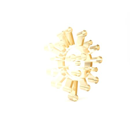Gold Bacteria icon isolated on white background. Bacteria and germs, microorganism disease causing, cell cancer, microbe, virus, fungi. 3d illustration 3D render