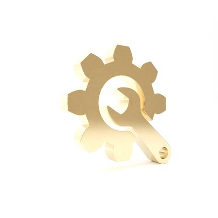 Gold Wrench and gear icon isolated on white background. Adjusting, service, setting, maintenance, repair, fixing. 3d illustration 3D render Stockfoto