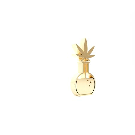 Gold Chemical test tube with marijuana or cannabis leaf icon isolated on white background. Research concept. Laboratory CBD oil concept. 3d illustration 3D render 스톡 콘텐츠