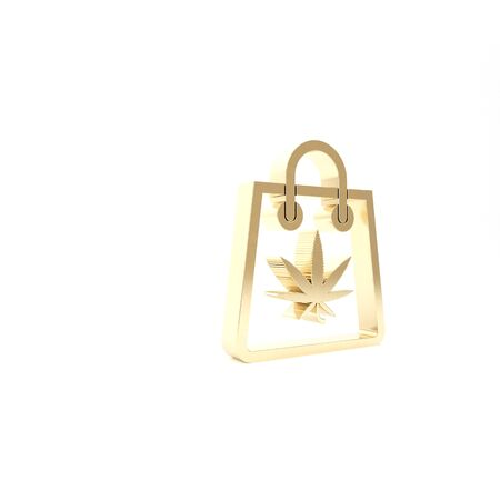 Gold Shopping paper bag of medical marijuana or cannabis leaf icon isolated on white background. Buying cannabis. Hemp symbol. 3d illustration 3D render Фото со стока - 133453555