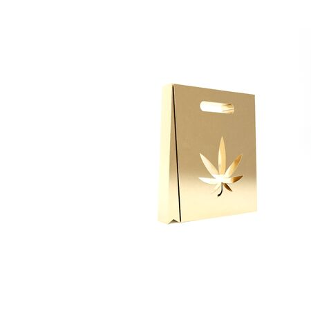 Gold Shopping paper bag of medical marijuana or cannabis leaf icon isolated on white background. Buying cannabis. Hemp symbol. Фото со стока - 133453556