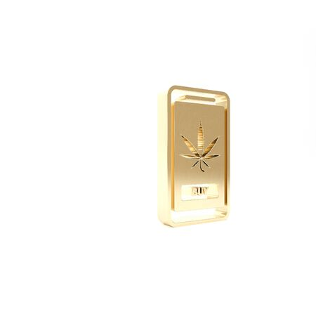 Gold Mobile phone and medical marijuana or cannabis leaf icon isolated on white background. Online buying symbol. Supermarket basket.