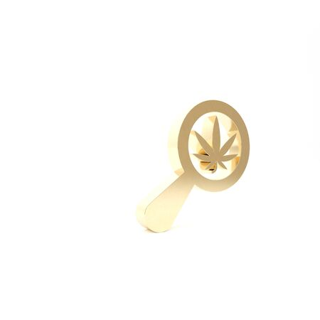 Gold Magnifying glass and medical marijuana or cannabis leaf icon isolated on white background. Hemp symbol. 3d illustration 3D render