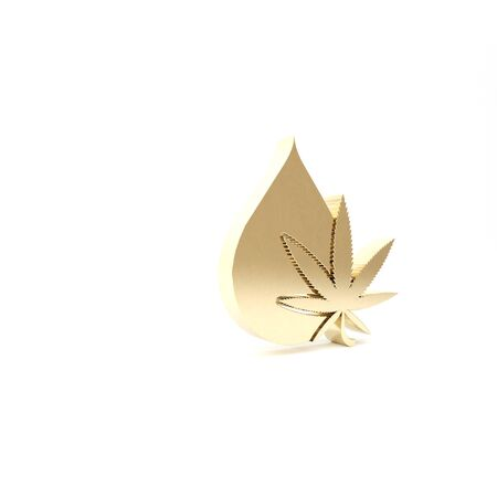 Gold Medical marijuana or cannabis leaf olive oil drop icon isolated on white background. Cannabis extract. Hemp symbol. 3d illustration 3D render