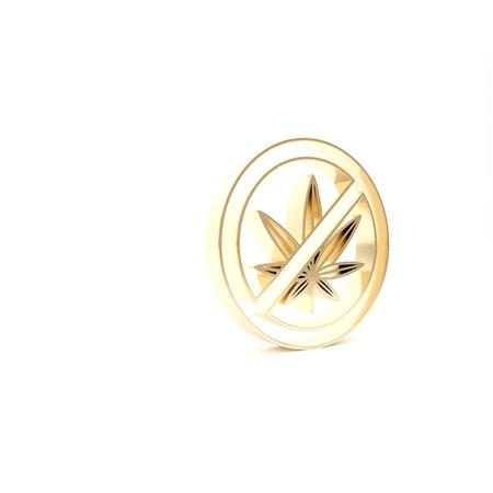 Gold Stop marijuana or cannabis leaf icon isolated on white background. No smoking marijuana. Hemp symbol. 3d illustration 3D render
