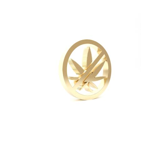 Gold Stop marijuana or cannabis leaf icon isolated on white background. No smoking marijuana. Hemp symbol. 3d illustration 3D render Фото со стока - 133426968