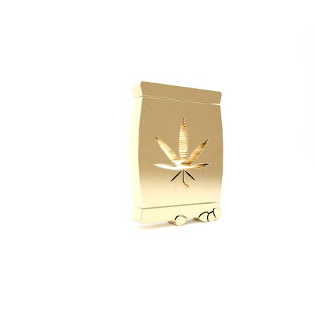 Gold Marijuana or cannabis seeds in a bag icon isolated on white background. Hemp symbol. The process of planting marijuana. 3d illustration 3D render Фото со стока - 133426970