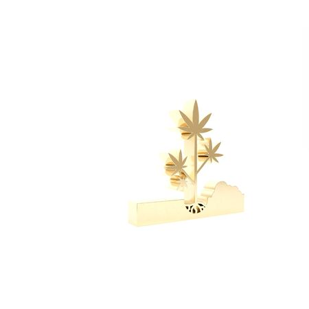 Gold Planting marijuana or cannabis plant in the ground icon isolated on white background. Marijuana growing concept. Hemp symbol. 3d illustration 3D render
