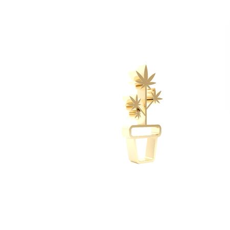 Gold Medical marijuana or cannabis plant in pot icon isolated on white background. Marijuana growing concept. Hemp potted plant. 3d illustration 3D render Stock Photo