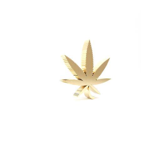 Gold Medical marijuana or cannabis leaf icon isolated on white background. Hemp symbol. 3d illustration 3D render