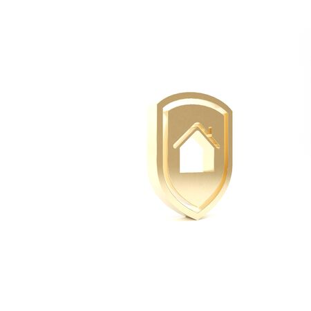 Gold House under protection icon isolated on white background. Home and shield. Protection, safety, security, protect, defense concept. 3d illustration 3D render