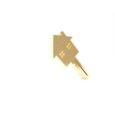 Gold House with key icon isolated on white background. The concept of the house turnkey. 3d illustration 3D render Banco de Imagens