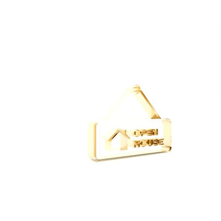 Gold Hanging sign with text Open house icon isolated on white background. Signboard with text Open house. 3d illustration 3D render