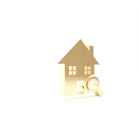 Gold Search house icon isolated on white background. Real estate symbol of a house under magnifying glass. 3d illustration 3D render Foto de archivo - 133426873