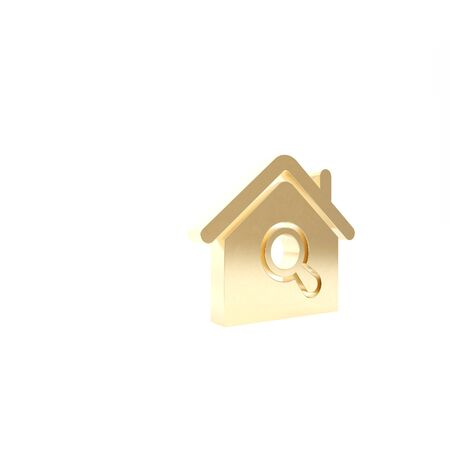Gold Search house icon isolated on white background. Real estate symbol of a house under magnifying glass. 3d illustration 3D render Banque d'images - 133426872