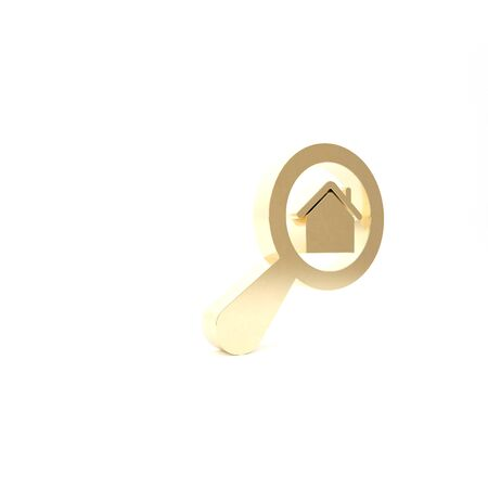Gold Search house icon isolated on white background. Real estate symbol of a house under magnifying glass. 3d illustration 3D render Foto de archivo - 133426874