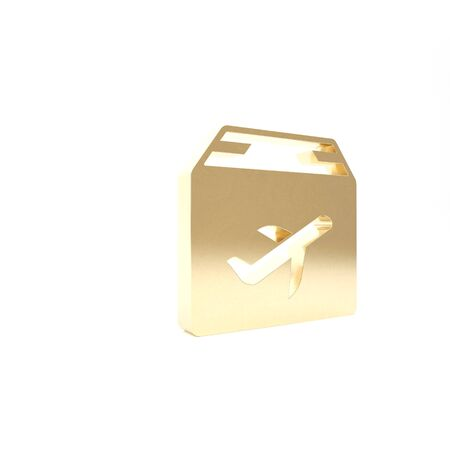 Gold Plane and cardboard box icon isolated on white background. Delivery, transportation. Cargo delivery by air. Airplane with parcels, boxes. 3d illustration 3D render Stock Illustration - 133426890