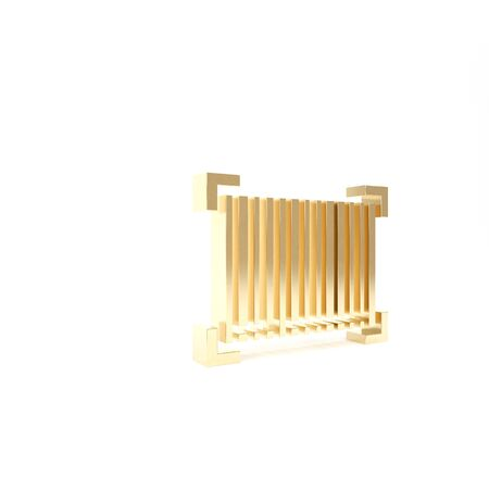 Gold Barcode icon isolated on white background. 3d illustration 3D render