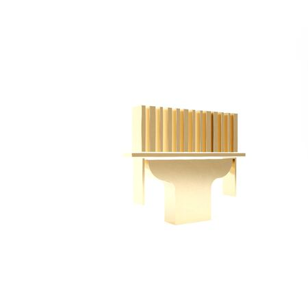 Gold Scanner scanning bar code icon isolated on white background. Barcode label sticker. Identification for delivery with bars. 3d illustration 3D render