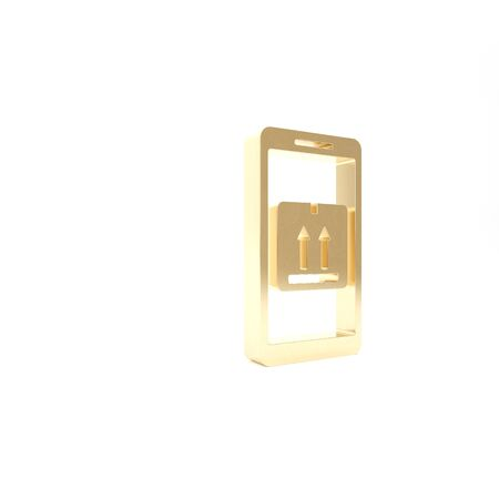 Gold Mobile smart phone with app delivery tracking icon isolated on white background. Parcel tracking. 3d illustration 3D render Banque d'images - 133426904