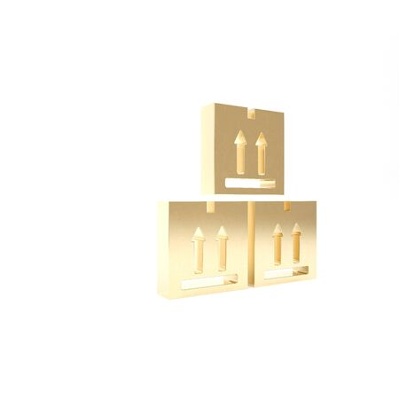 Gold Cardboard box with traffic symbol icon isolated on white background. Box, package, parcel sign. Delivery, transportation and shipping. 3d illustration 3D render