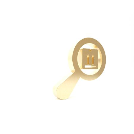 Gold Search package icon isolated on white background. Parcel tracking symbol. Magnifying glass and cardboard box. Logistic and delivery. 3d illustration 3D render Banque d'images - 133426905