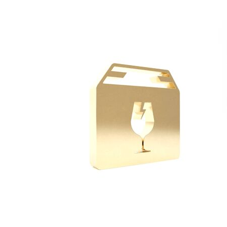 Gold Delivery package box with fragile content symbol of broken glass icon isolated on white background. Box, package, parcel sign. 3d illustration 3D render Stock Illustration - 133426915