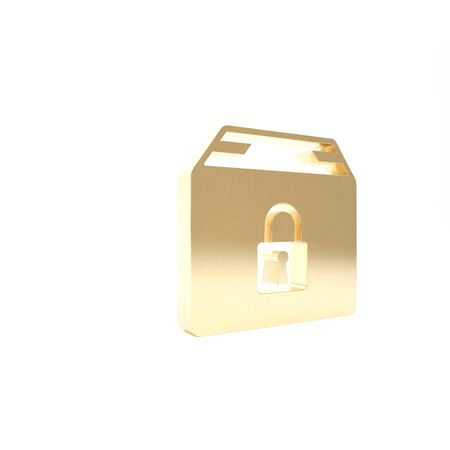 Gold Locked package icon isolated on white background. Lock and cardboard box. 3d illustration 3D render