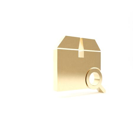 Gold Search package icon isolated on white background. Parcel tracking symbol. Magnifying glass and cardboard box. Logistic and delivery. 3d illustration 3D render Foto de archivo - 133426921