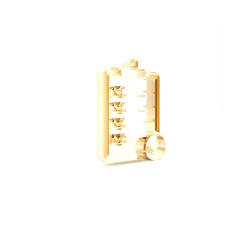 Gold Verification of delivery list clipboard and pen icon isolated on white background. 3d illustration 3D render Stockfoto
