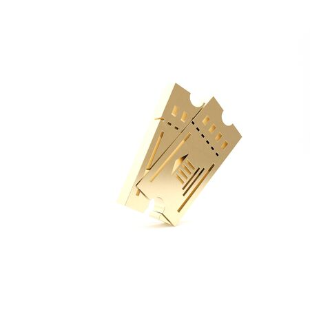 Gold Museum ticket icon isolated on white background. History museum ticket coupon event admit exhibition excursion. 3d illustration 3D render