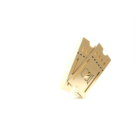 Gold Train ticket icon isolated on white background. Travel by railway. 3d illustration 3D render