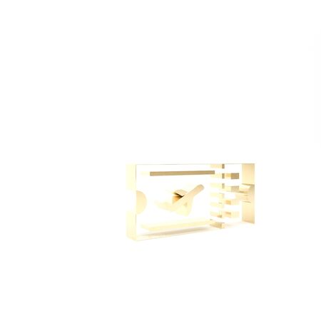 Gold Airline ticket icon isolated on white background. Plane ticket. 3d illustration 3D render Stock Photo