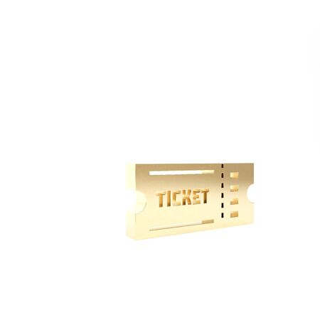 Gold Ticket icon isolated on white background. 3d illustration 3D render