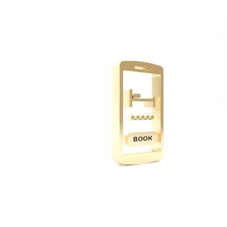 Gold Online hotel booking icon isolated on white background. Online booking design concept for mobile phone. 3d illustration 3D render Stock Photo