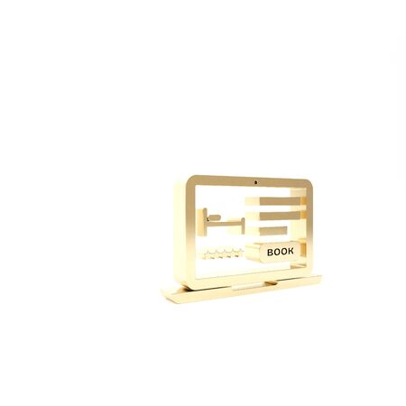 Gold Online hotel booking icon isolated on white background. Online booking design concept for laptop. 3d illustration 3D render