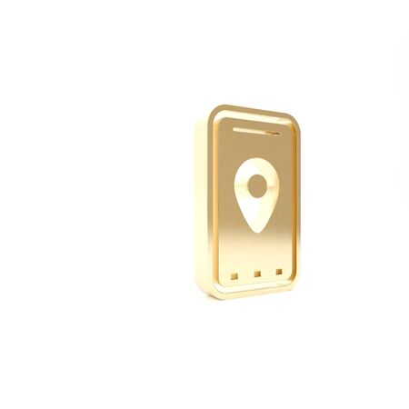 Gold Infographic of city map navigation icon isolated on white background. Mobile App Interface concept design. Geolacation concept. 3d illustration 3D render Foto de archivo - 133426858