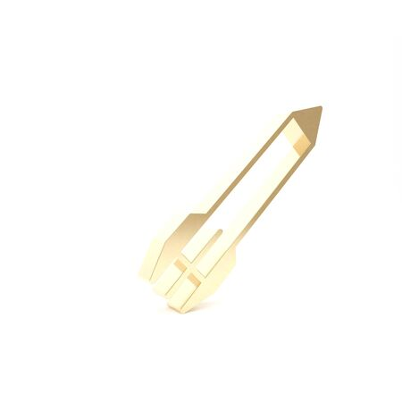 Gold Rocket icon isolated on white background. 3d illustration 3D render