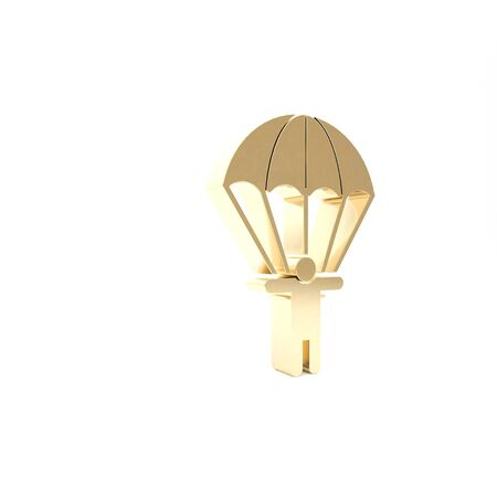 Gold Parachute and silhouette person icon isolated on white background. 3d illustration 3D render Archivio Fotografico - 133426826