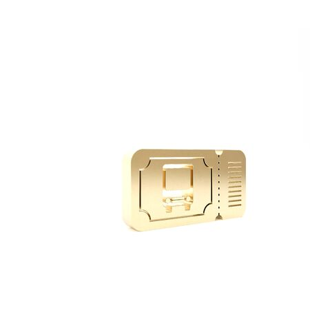 Gold Bus ticket icon isolated on white background. Public transport ticket. 3d illustration 3D render Stock Photo