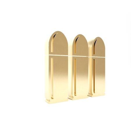 Gold Bullet icon isolated on white background. 3d illustration 3D render
