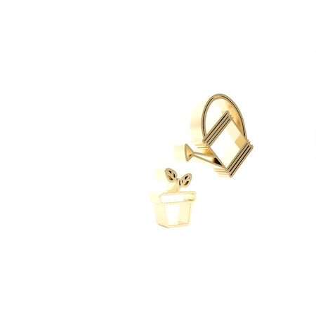 Gold Watering can sprays water drops above plant in pot icon isolated on white background. Irrigation symbol. 3d illustration 3D render Zdjęcie Seryjne