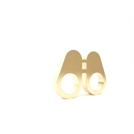 Gold Binoculars icon isolated on white background. Find software sign. Spy equipment symbol. 3d illustration 3D render Foto de archivo - 133426784