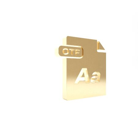 Gold OTF file document. Download otf button icon isolated on white background. OTF file symbol. 3d illustration 3D render