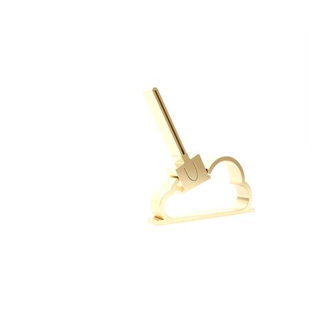 Gold Shovel in the ground icon isolated on white background. Gardening tool. Tool for horticulture, agriculture, farming. 3d illustration 3D render