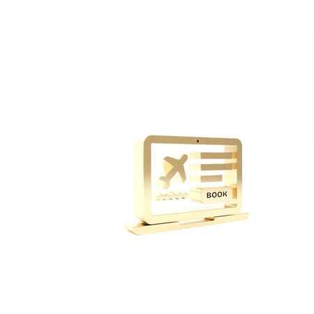 Gold Laptop with electronic boarding pass airline ticket icon isolated on white background. Passenger plane mobile ticket for web and app. 3d illustration 3D render Stock Photo