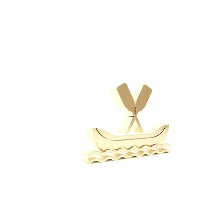Gold Rafting boat icon isolated on white background. Kayak with paddles. Water sports, extreme sports, holiday, vacation, team building. 3d illustration 3D render Stockfoto